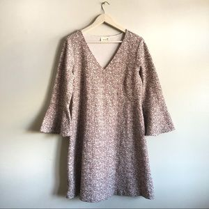 Maeve Tweed Mid Length Shift Dress w/ bell sleeves